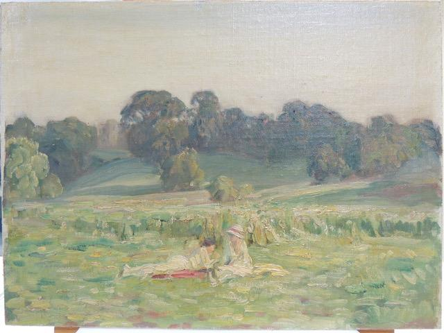 A rural picnic painted by artist Brian Hatton