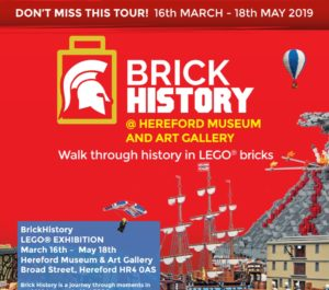 Poster for the Lego Brick History exhibition in Hereford MArch-May 2019